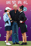 Lorena Ochoa, Greg Norman and Catherine Zeta-Jones during the Mission Hills Start Trophy at the Mission Hills Golf Resort on October 31, 2010 in Haikou, China. The Mission Hills Star Trophy is Asia's leading leisure liflestyle event and features Hollywood celebrities and international golf stars. Photo by Victor Fraile