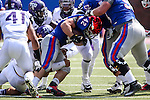 Southern Methodist Mustangs running back Prescott Line (42) in action during the game between the TCU Horned Frogs and the SMU Mustangs at the Gerald J. Ford Stadium in Fort Worth, Texas. TCU defeats SMU 56 to 0.