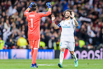 Marcelo Vieira Da Silva of Real Madrid (R) and Goalkeeper Keylor Navas of Real Madrid (L) celebrates during the UEFA Champions League 2017-18 quarter-finals (2nd leg) match between Real Madrid and Juventus at Estadio Santiago Bernabeu on 11 April 2018 in Madrid, Spain. Photo by Diego Souto / Power Sport Images