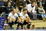 Berlin, Germany, February 09: During the FIH Indoor Hockey World Cup Pool A group match between Germany (white) and Trinidad and Tobago(red) on February 9, 2018 at Max-Schmeling-Halle in Berlin, Germany. Final score 10-2. (Photo by Dirk Markgraf / www.265-images.com) *** Local caption *** (L-R) Fabian PEHLKE #23 of Germany, Martin HAENER #6 of Germany, head coach Stefan Kermas of Germany