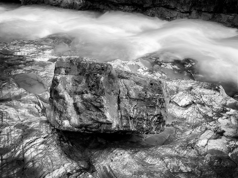 Tokumm Creek with colorful rocks. Marble Canyon. Kooteny National Park, Canada