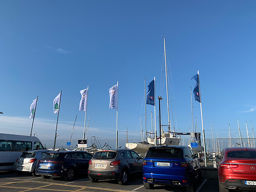 The scene at Howth with flags flying for the Provident CRM Optimist Leinster Championships