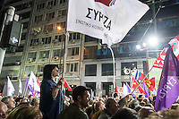 Alexis Tsipras addresses a pre-election rally for supporters of the Syriza Party in Omonia square in Athens 22-1-15