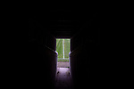Mossley 4 Pickering Town 1, 26/09/2020. Seel Park, Northern Premier League Division One North West. The view down the tunnel onto the pitch, pictured before Mossley take on Pickering Town. Formed in 1903, Mossley moved into their current ground in 1912 and have played there ever since. The home team won the match 4-1, watched by a crowd of 400, the maximum number permitted in the ground under COVID-19 social distancing regulations. Photo by Colin McPherson.
