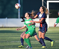 20131211 - HENIN-BEAUMONT , France :  Henin's Marine Dafeur(left) pictured in a duel with PSG's Kheira Hamraoui (right) during the female soccer match between FC Henin Beaumont and Paris Saint-Germain Feminin , of the Ninth matchday in the French First Female Division . Wednesday 11 December 2013. PHOTO DAVID CATRY
