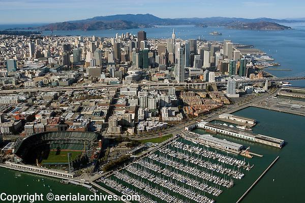 aerial photograph Giant's stadium San Francisco skyline