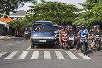 Bali, Indonesia.  Motorbikes Dominate Traffic on Bali.