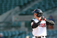 Rochester Red Wings outfielder Rene Tosoni #9 at bat during the second game of a double header against the Lehigh Valley Ironpigs at Frontier Field on April 14, 2011 in Rochester, New York.  Low 40 degree tempatures left many seats available for the twinbill.  Lehigh Valley defeated Rochester 5-3 in extra innings.  Photo By Mike Janes/Four Seam Images