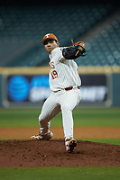 Texas Longhorns relief pitcher Donny Diaz (19) in action against the Missouri Tigers in game eight of the 2020 Shriners Hospitals for Children College Classic at Minute Maid Park on March 1, 2020 in Houston, Texas. The Tigers defeated the Longhorns 9-8. (Brian Westerholt/Four Seam Images)