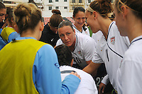 Abby Wambach leads the pre-game huddle. The USA defeated Norway 2-1 at Olhao Stadium on February 26, 2010 at the Algarve Cup.