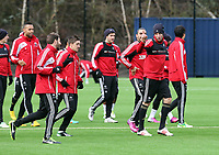 Tuesday 15 January 2013<br /> Pictured: Michu (R) joking about with team mate Angel Rangel (L)<br /> Re: Swansea City FC training near the Liberty Stadium ahead of their Cup game against Arsenal at the Emirates Stadium.