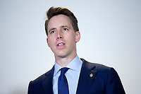 United States Senator Josh Hawley (Republican of Missouri) speaks to members of the media prior to the GOP Policy Luncheons at the Hart Senate Office Building in Washington D.C., U.S. on Thursday, May 21, 2020.  Credit: Stefani Reynolds / CNP/AdMedia