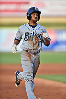 Biloxi Shuckers center fielder Johnny Davis (17) runs to third base during a game against the Tennessee Smokies at Smokies Stadium on May 26, 2017 in Kodak, Tennessee. The Smokies defeated the Shuckers 3-2. (Tony Farlow/Four Seam Images)