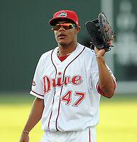 Infielder Reynaldo Rodriguez (47) of the Greenville Drive at Game 2 of the South Atlantic League Championship Series against the Lakewood BlueClaws on Sept. 14, 2010, at Fluor Field at the West End in Greenville, S.C. Photo by: Tom Priddy/Four Seam Images