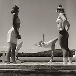 Scan from vintage print. Negative file#96-210 Q#46. Women doing ballet and exercise on Moosehead Lake dock. BW; black and white;