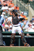 Baltimore Orioles outfielder Nolan Reimold (14) during a Spring Training game against the Tampa Bay Rays on March 14, 2015 at Ed Smith Stadium in Sarasota, Florida.  Tampa Bay defeated Baltimore 3-2.  (Mike Janes/Four Seam Images)