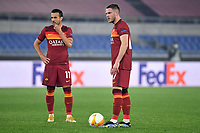 Pedro Eliezer Rodriguez Ledesma and Jordan Veretout of AS Roma prepare to shoot a free kick during the Europa League round of 32 2nd leg football match between AS Roma and Sporting Braga at stadio Olimpico in Rome (Italy), February, 25th, 2021. Photo Andrea Staccioli / Insidefoto