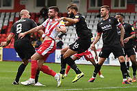 Jordan Turnbull of Salford City and  Danny Newton of Stevenage F.C.during Stevenage vs Salford City, Sky Bet EFL League 2 Football at the Lamex Stadium on 3rd October 2020