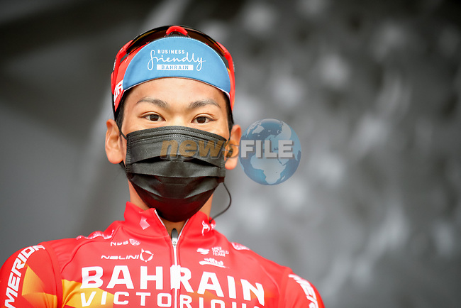 Yukiya Aarashiro (JPN) Bahrain Victorious at sign on before Stage 5 of Paris-Nice 2021, running 200km from Vienne to Bollene, France. 11th March 2021.<br /> Picture: ASO/Fabien Boukla | Cyclefile<br /> <br /> All photos usage must carry mandatory copyright credit (© Cyclefile | ASO/Fabien Boukla)