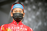 Yukiya Aarashiro (JPN) Bahrain Victorious at sign on before Stage 5 of Paris-Nice 2021, running 200km from Vienne to Bollene, France. 11th March 2021.<br /> Picture: ASO/Fabien Boukla   Cyclefile<br /> <br /> All photos usage must carry mandatory copyright credit (© Cyclefile   ASO/Fabien Boukla)