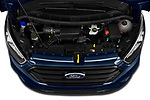 Car Stock 2020 Ford Transit-Custom Nugget 4 Door Camper Van Engine  high angle detail view