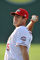 Catcher Tyler Spoon (15) of the Greenville Drive warms up before a game against the Augusta GreenJackets on Thursday, June 9, 2016, at Fluor Field at the West End in Greenville, South Carolina. Augusta won, 8-2. (Tom Priddy/Four Seam Images)