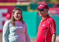 16 March 2014: Amanda Comak, Washington Nationals Director of Baseball Media Relations Communications & New Media smiles with team Owner Mark Lerner prior to a Spring Training game against the Detroit Tigers at Space Coast Stadium in Viera, Florida. The Tigers edged out the Nationals 2-1 in Grapefruit League play. Mandatory Credit: Ed Wolfstein Photo *** RAW (NEF) Image File Available ***