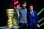 Richard Carapaz, Peter Sagan and Urbano Cairo on stage at the route presentation for the 103rd edition of the Giro d'Italia 2020. L-R Renato Di Rocco, Vincenzo Spadafora, Urbano Cairo, Giuseppe Sala. Held in the RAI Studios, Milan, Italy. <br /> 24th October 2019.<br /> Picture: LaPresse/Claudio Furlan   Cyclefile<br /> <br /> All photos usage must carry mandatory copyright credit (© Cyclefile   LaPresse/Claudio Furlan)