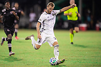 LAKE BUENA VISTA, FL - JULY 14: Kacper Przybylko #23 of the Philadelphia Union kicks the ball during a game between Inter Miami CF and Philadelphia Union at Wide World of Sports on July 14, 2020 in Lake Buena Vista, Florida.