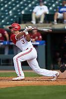 Joe Dunand (3) of the North Carolina State Wolfpack follows through on his swing against the Boston College Eagles in Game Two of the 2017 ACC Baseball Championship at Louisville Slugger Field on May 23, 2017 in Louisville, Kentucky. The Wolfpack defeated the Eagles 6-1. (Brian Westerholt/Four Seam Images)