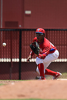 GCL Phillies first baseman Luis Encarnacion (22) waits for a throw during a game against the GCL Pirates on June 26, 2014 at the Carpenter Complex in Clearwater, Florida.  GCL Phillies defeated the GCL Pirates 6-2.  (Mike Janes/Four Seam Images)