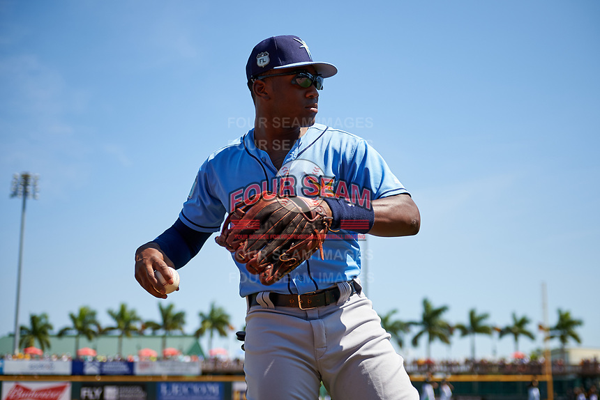 Tampa Bay Rays right fielder Justin Williams (74) warms up before a Spring Training game against the Pittsburgh Pirates on March 10, 2017 at LECOM Park in Bradenton, Florida.  Pittsburgh defeated New York 4-1.  (Mike Janes/Four Seam Images)