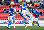 St Johnstone v Hamilton Accies…26.10.19   McDiarmid Park   SPFL<br />David Wotherspoons header is saved<br />Picture by Graeme Hart.<br />Copyright Perthshire Picture Agency<br />Tel: 01738 623350  Mobile: 07990 594431