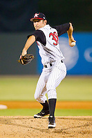Relief pitcher Ryan Kussmaul #38 of the Kannapolis Intimidators in action against the Asheville Tourists at Fieldcrest Cannon Stadium July 26, 2010, in Kannapolis, North Carolina.  Photo by Brian Westerholt / Four Seam Images