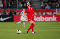CARSON, CA - FEBRUARY 07: Sophie Schmidt #13 of Canada moves with the ball during a game between Canada and Costa Rica at Dignity Health Sports Complex on February 07, 2020 in Carson, California.