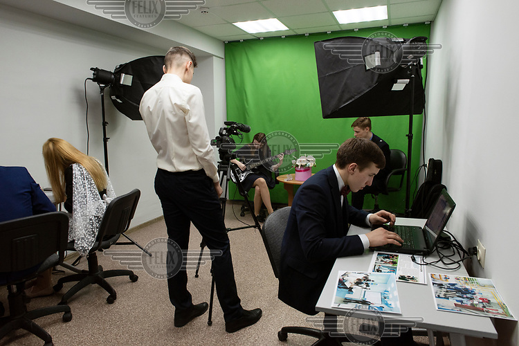 A multi-media lesson for students in a Gazprom-sponsored class at a school in Nadym. The best achieving students attend the class, chosen for their abilities and because they want to link their professional future with Gazprom.