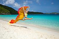 Young athletic woman at Trunk Bay.Virgin Islands National Park.St. John, U.S. Virgin Islands