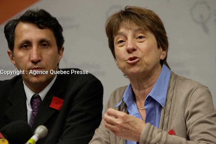 Montreal (Qc) CANADA - April 10 2012 File Photo - <br />  Amik Khadir (L) and Francoise David (R), co-leaders of Quebec Solidaire