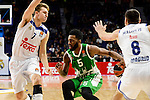 Real Madrid's player Luka Doncic and Jonas Maciulis and Unics Kazan's player Keith Langford during match of Turkish Airlines Euroleague at Barclaycard Center in Madrid. November 24, Spain. 2016. (ALTERPHOTOS/BorjaB.Hojas)
