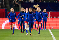 CARSON, CA - FEBRUARY 7: Kelley O'Hara #5 of the United States leads the team onto the field during a game between Mexico and USWNT at Dignity Health Sports Park on February 7, 2020 in Carson, California.