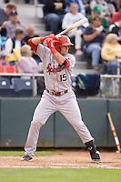 Spokane Indians catcher Joe Maloney #15 at bat during a game against the Everett AquaSox at Everett Memorial Stadium on June 20, 2012 in Everett, WA.  Everett defeated Spokane 9-8 in 13 innings.  (Ronnie Allen/Four Seam Images)