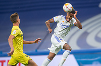 25th September 2021; Estadio Santiagp Bernabeu, Madrid, Spain; Men's La Liga, Real Madrid CF versus Villarreal CF; Militao of Real Madrid heads a ball into attack past Foyth of Villarreal