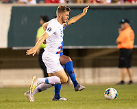 PHILADELPHIA, PA - JUNE 30: Walker Zimmerman #5 and Kenji Gorre #14 vie for the ball during a game between Curaçao and USMNT at Lincoln Financial Field on June 30, 2019 in Philadelphia, Pennsylvania.