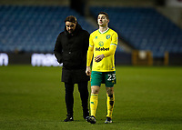 2nd February 2021; The Den, Bermondsey, London, England; English Championship Football, Millwall Football Club versus Norwich City; Norwich City Manager Daniel Farke and Kenny McLean of Norwich City walk off the pitch towards the away tunnel after the final whistle in disappointment