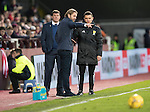 Hearts v St Johnstone…05.11.16  Tynecastle   SPFL<br />Hearts manager Robbie Neilson complains to fourth official Nick Walsh<br />Picture by Graeme Hart.<br />Copyright Perthshire Picture Agency<br />Tel: 01738 623350  Mobile: 07990 594431