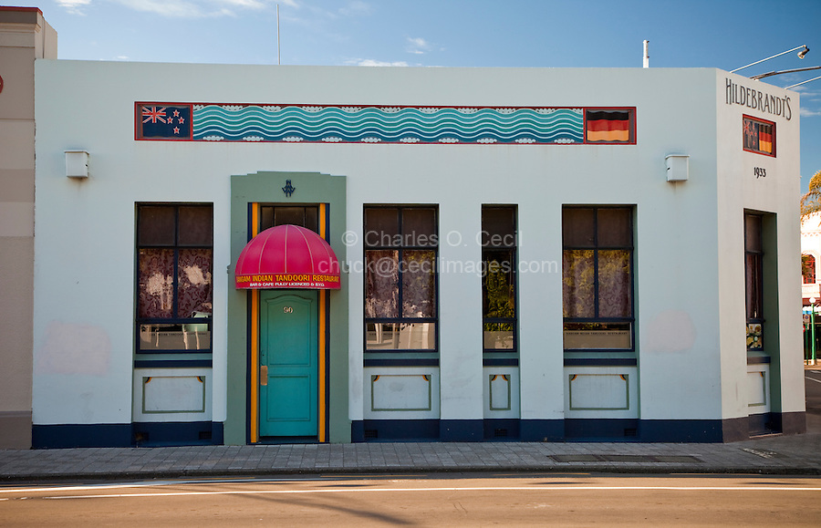 Indian Tandoori Restaurant Occupies Hildebrandt's Building, Built in Art Deco Style, 1933.  Napier, north island, New Zealand.