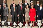 Sports minister Íñigo Méndez de Vigo, King Juan Carlos, King Felipe VI of Spain, Queen Letizia and Queen Sofia attends to the National Sports Awards 2015 at El Pardo Palace in Madrid, Spain. January 23, 2017. (ALTERPHOTOS/BorjaB.Hojas)