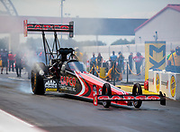 Aug 9, 2020; Clermont, Indiana, USA; NHRA top fuel driver Billy Torrence during the Indy Nationals at Lucas Oil Raceway. Mandatory Credit: Mark J. Rebilas-USA TODAY Sports