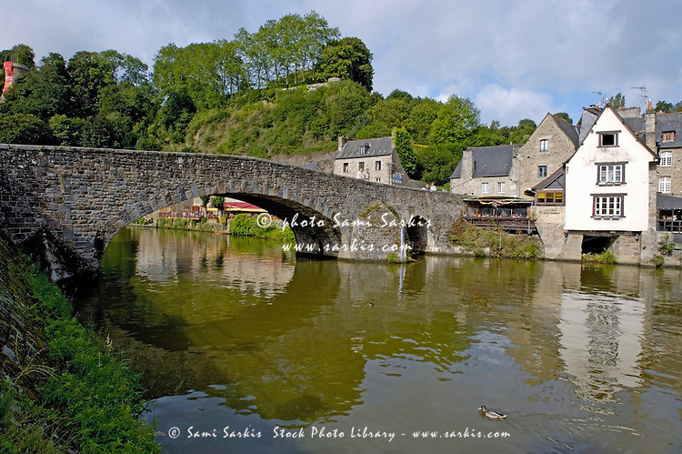 Historic Gothic bridge crossing the Rance River, Dinan, Brittany, France.