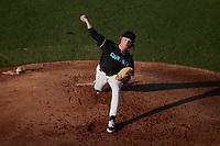 Danville Otterbots starting pitcher Joel Sarver (13) (NW Florida State)  in action against the Burlington Sock Puppets at Burlington Athletic Park on June 5, 2021 in Burlington, North Carolina. (Brian Westerholt/Four Seam Images)